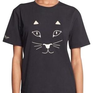 Charlotte Olympia Black Purrfect Kitty Tee